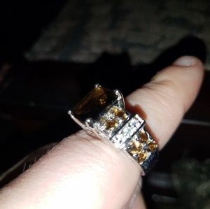 Jewelry - Smoky Brown Quartz and White Crystal Ring
